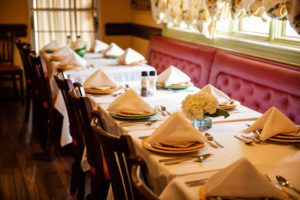 tables set at Mario Fazio's restaurant