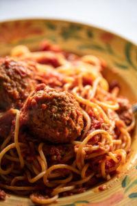 spaghetti and meatballs entree at Mario Fazio's